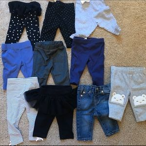 10 pairs  0-3/3month baby pants. Hardly/never worn